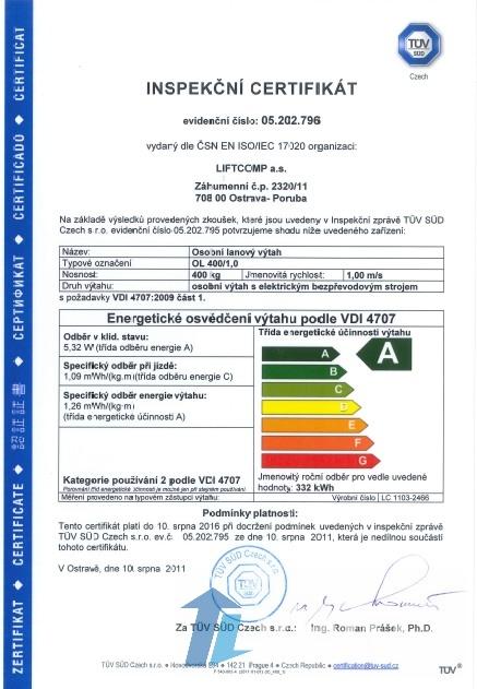 Inšpekčný certifikát