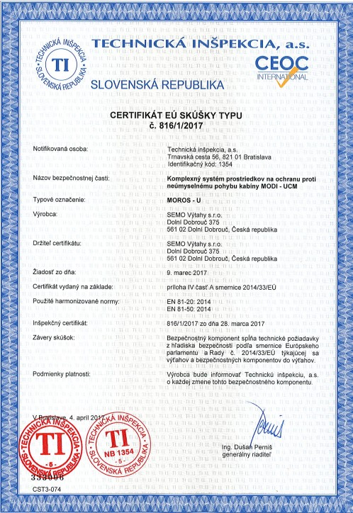 Certifikát MOROS -U