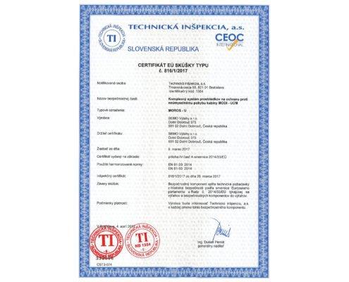 Certifikát MOROS -U, 2017